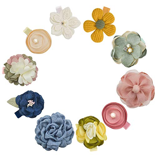 10 PCS Flower Baby Girls Hair Bows Clips with Fully Lined Alligator Clips Hair Barrettes Accessory for Fine Hair Infant Toddlers Kids (Flower Set 02-10PCS)