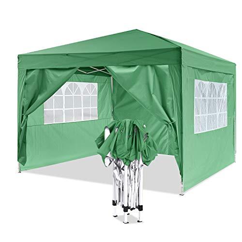 Bunao Robusto Gazebo Pieghevole da 3m x 3m,Tenda da Giardino Pieghevole/Retrattile, Impermeabile, Rivestimento in PVC, ha in Dotazione Una Sacca per Il Trasporto Gratuita (Verde)
