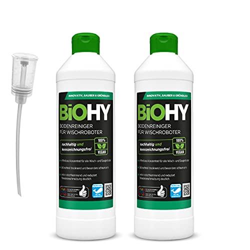 BiOHY Bodenreiniger für Wischroboter (2x500ml Flasche) + Dosierer | Konzentrat für alle Wisch & Saugroboter mit Nass-Funktion | nachhaltig & ökologisch