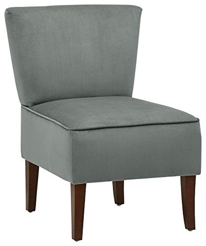 Marchio Amazon -Rivet, sedia senza braccioli modello Ashworth, in velluto, colore foglia di tè scuro