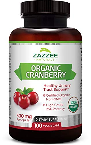 Zazzee USDA Organic Cranberry Extract, 12,500 mg Strength, 100 Vegan Capsules, USDA Certified Organic, Potent 25:1 Extract, Made from Fresh Whole Organic Cranberries, Vegan, All-Natural and Non-GMO