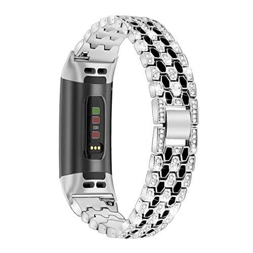 GIMart Metallarmband kompatibel für Fitbit Charge 4/Charge 3/3 SE Armband, Damen Herren Bling Strass Edelstahl Ersatzband Armband Armband für Charge 4/Charge 3 Fitness Tracker