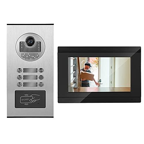 Tonysa 7inches WiFi Video Intercom Timbre Puerta Teléfono RFID Cámara 3 Apartamento, Definición: 1000TVL,En Espera: 0.1 W; Desbloqueo: 6 W,TFT LCD de 7 Pulgadas (16: 9),DC15V 1.2A(欧规(100-240V))