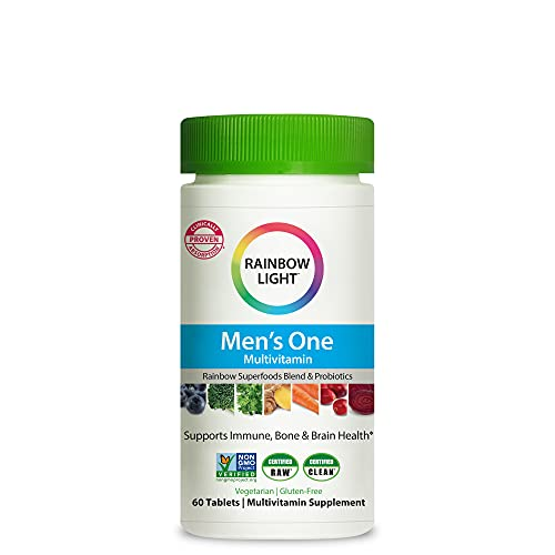 Rainbow Light Men's One Daily High Potency Multivitamin for Immune Support with Vitamin C, D & Zinc, 60 Tablets, Non-GMO, Vegetarian & Gluten Free