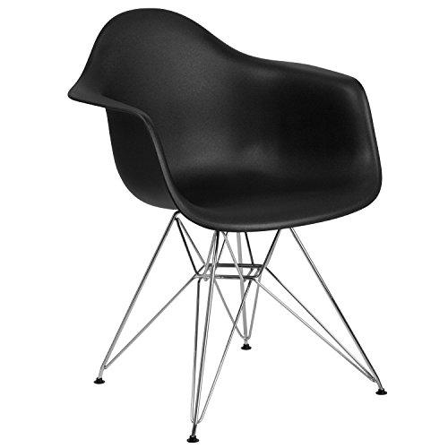 Flash Furniture Alonza Series Black Plastic Chair with Chrome Base