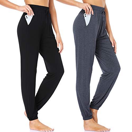 ROCHVIE Sweatpants for Women Casual Drawstring Jogger Pants with Pockets Athletic Pants High Waist Wide Leg Running Pants Black + Dark Grey S