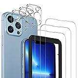 MSOVAEU Vetro Temperato Compatibile con iPhone 13 Pro Max, 3 Pezzi Durezza 9H Bubble-Free Vetro Temperato e 3 Pezzi Pellicola Fotocamera compatibile con iPhone 13 Pro Max.