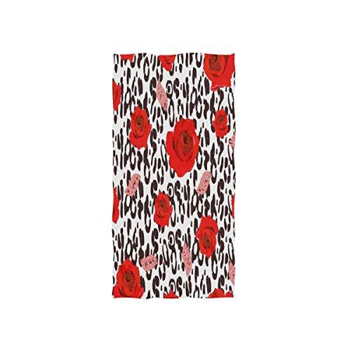 rode washandjes 30 x 15 inch washandjes handdoek zacht van Hotel Spa Gym Sport Rose Flower Leopard Print blauw
