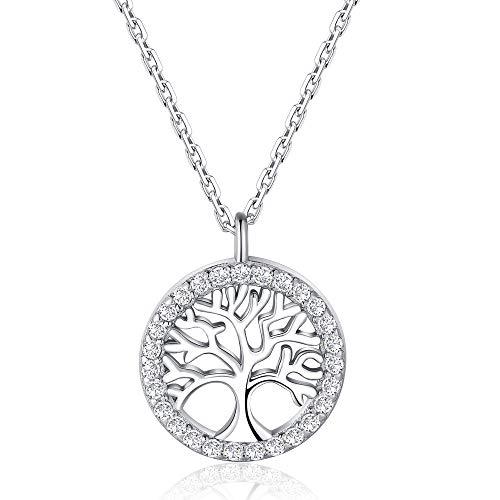 Jrêveinfini Collar Mujer Plata de Ley 925 con Colgante árbol de la Vida, Collar árbol de la Vida Cadena 45cm Longitud, Joyero