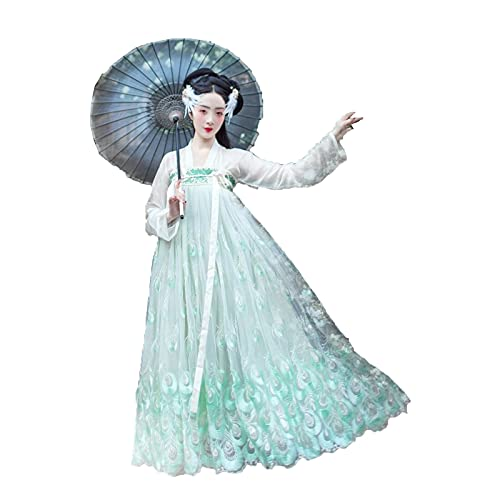 LIWEIL Women's Full-Chested Skirt Chinese Style Ancient Hanfu Costume Flowy Fairy Peacock Dress(L,Green)