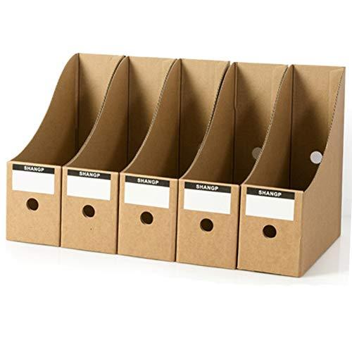 Lot de 5 porte-revues en carton pour rangement de magazines ou de livres (Kaki)