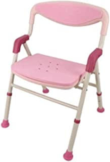 Sisyria Pink Folding Bath Chair,Durable Bath Seat Chair Adjustable Shower Chair Stool Collapsible Shower Seat for Disabled Elderly
