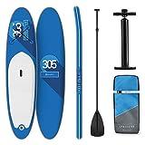 Tabla Paddle Surf Hinchable - SPREESTAR 305x10x77 cm Sup Surf, Paddleboard, Bomba de Aire, Pala, Correa de Seguridad, Mochila de Transporte, Kit reparación, Azul, DropStitch Technology