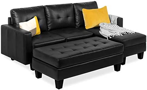 Best Best Choice Products Tufted Faux Leather 3-Seat L-Shape Sectional Sofa Couch Set w/Chaise Lounge, Ot