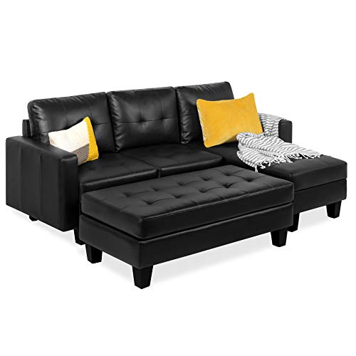 Best Choice Products Tufted Faux Leather 3-Seat L-Shape Sectional Sofa Couch Set w/Chaise Lounge, Ottoman Coffee Table Bench, Black