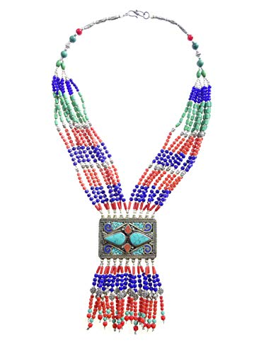 étnico tribal gitano diseñador hecho a mano múltiple cadena largo tibetano Collar para mujeres lapislázuli, coral y turquesa piedras preciosas oxidada plata moda collar fiesta joyería por arte