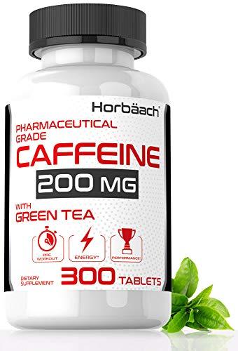 Caffeine Pills 200mg with Green Tea | 300 Tablets | Vegetarian, Non-GMO & Gluten Free | by Horbaach