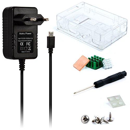 Aukru-Kit 3-en-1 para Raspberry Pi 3Modelo B, Incluye una Caja Transparente, alimentación de 5V-3000mA, y disipador térmico