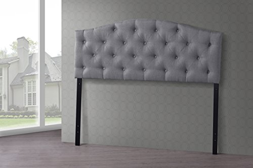 Wholesale Interiors Baxton Studio Myra Modern and Contemporary Fabric Upholstered Button-Tufted Scalloped Headboard, Queen, Grey