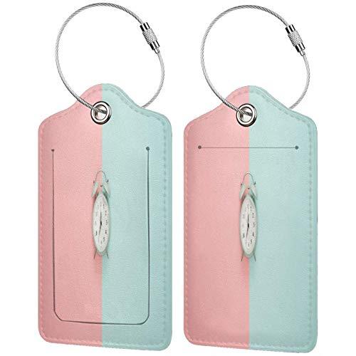 FULIYA Juego de 2 etiquetas de equipaje seguras de alta gama de cuero para maletas, tarjetas de visita o bolsa de identificación de viaje, reloj despertador, minimalismo, rosa, pastel