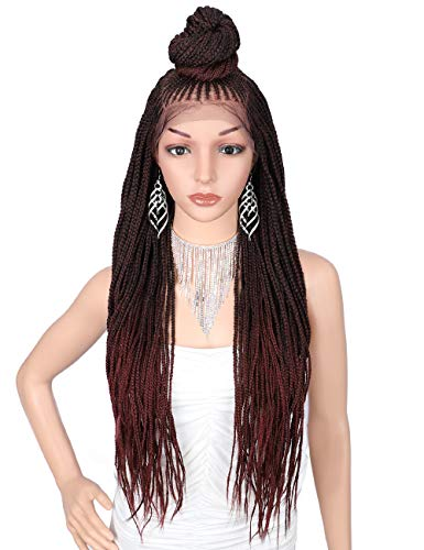 """Kalyss 13X7"""" Hand Braided Soft Swiss Lace Front Updo Bun Cornrow Braided Wigs with Baby Hair for Women Neatly and Tightly Done Super Lightweight Ombre Black CherryTwist Box Braids Wigs"""