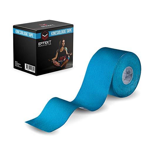 Effekt Manufaktur - (5m x 5cm) Rolle - Kinesiologie Tape in versch. Farben - Kinesiotapes Wasserfest & Elastisch für Sport - Kinesiotape Physio Tape Kinesio Tapes (Blau)