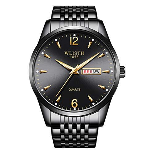 PIANAI Reloj de Hombre/Banda de Acero de Moda Doble Calendario Luminoso Reloj Impermeable/Reloj de Cuarzo para Estudiantes,B