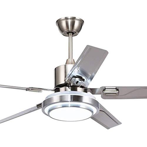 QIYUE 42 Zoll Moderne Deckenventilator Licht mit Fernbedienung 5 Klingen aus rostfreiem Stahl 3-Color Dimming Indoor Mute Energiesparventilator Kronleuchter for Hauptdekoration