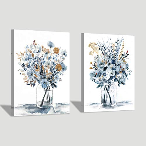 Floral Painting Canvas Wall Art Abstract Flower Bouquet In Glass Bottle Picture Print For Dining Room 18 X 24 X 2 Buy Online In Albania At Desertcart