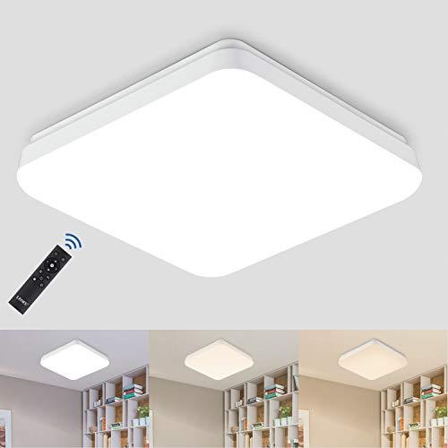 LED Deckenleuchte Dimmbar, 24W 2400LM Lichtfarbe und Helligkeit Einstellbar mit Fernbedienung, LEOEU Deckenlampe, IP54 Wasserfest Wohnzimmerlampe für Schlafzimmer Bad Kinderzimmer Küche Büro Flur