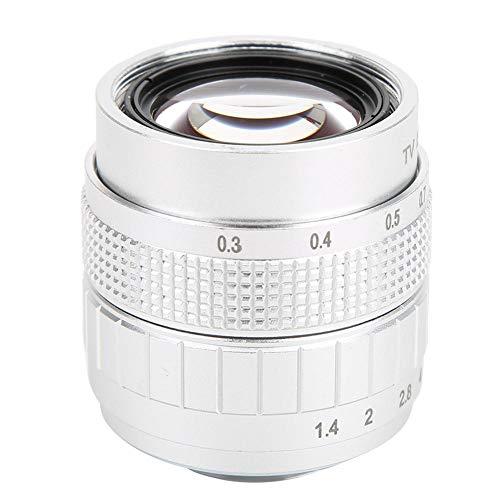 DAUERHAFT Lente de la cámara Componente de óptica Avanzada Lente de Montaje 50 mm F1.4 C, para Olympus M4 / 3, para Canon, para Fuji, para cámara sin Espejo Sony(Silver)