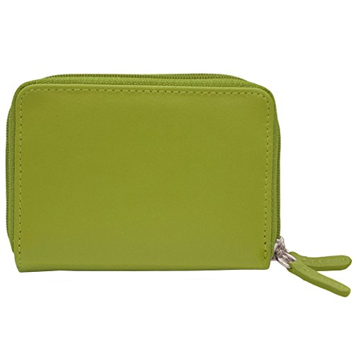 ili New York 6714 Leather Accordian Credit Card Holder 2 Compartments with RFID Blocking Lining (Moss Green)