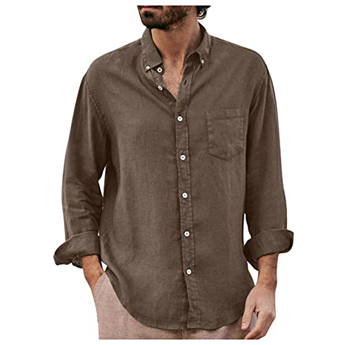 Camisa Lino Manga Larga Roll Up Hombre Café/Gris/Verde/Negro Primavera Otoño Camisa Informal de Manga Larga para Hombre Camisas de Lino con Botones para Hombre Camisas de Ocio Ligero M-XXXL