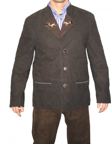 Trachtenjacke Trachten Lederjacke Jacke Janker aus Ziegenleder Dunkelbraun, Größe:56