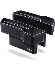 新型モデル Aurax 車 隙間 収納 ドリンクホルダー 車 シート 隙間 収納 シートサイドポケット 車用 収納ボックス カー用品 便利グッズ 収納 小物 カップホルダー レザー調 運転席 助手席 2個入り (ホワイトステッチ)