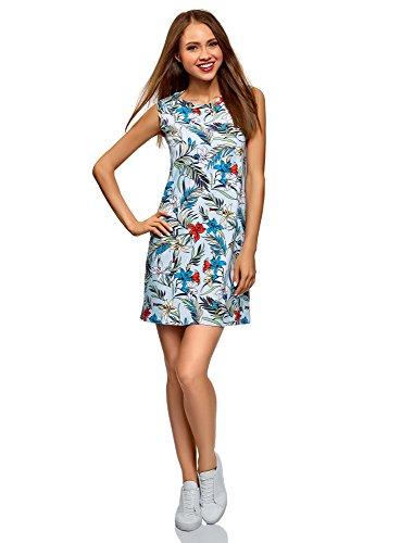 oodji Ultra Mujer Vestido de Algodón, Azul, ES 38 / S