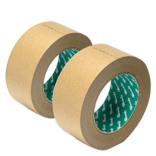ストリックスデザイン 日本製 クラフトテープ 2個セット 黄土 50m巻 幅5cm 梱包用 ガムテープ 手で切れる