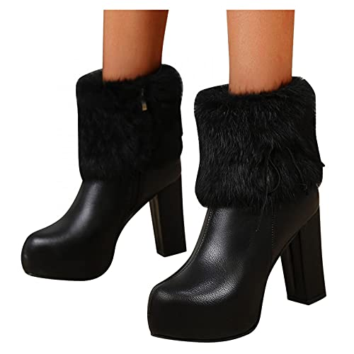 HLENLO Women's High Heels Ankle Booties, Square Toe Block Heel Chelsea Boots, Fashion Winter Round Toe Hairy Short Boots Black