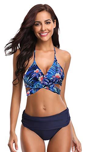 SHEKINI Mujeres de Empuje-up Vendaje Halter Fruncido de Alta Cintura Fondos Bikini Trajes de baño (Medium, Azul Profundo Printing)