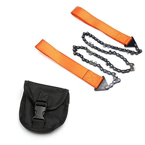 XINGX Sierra de bolsillo de supervivencia, sierras de camping para cortar madera, 3 veces más rápida cadena de sierra de mano, cadena plegable de 24 pulgadas para cortar árboles, senderismo, acampada, equipo de supervivencia, 5FTC02N31849Z11ISJYI4TSI, naranja