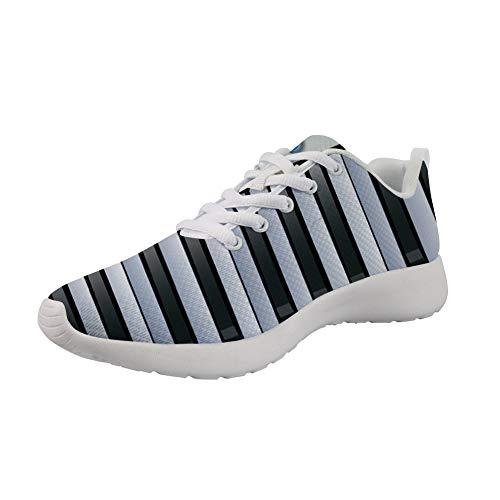 POLERO Sportschuhe für Frauen Laufen Walking Piano Keyboard Print Sneaker Flache Schnür-Modetrainer, Größe 41