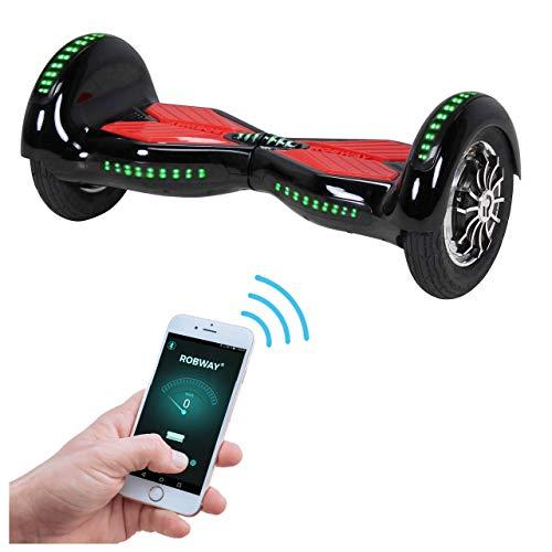 Robway W3 Hoverboard - Das Original - Samsung Marken Akku - Self Balance - 22 Farben - Bluetooth - 2 x 400 Watt Motor - 10 Zoll Luftreifen (Schwarz Rot)