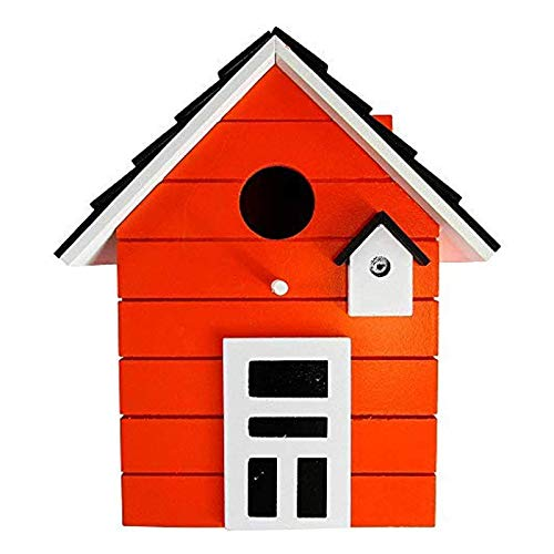 CasaJame Holz Vogelhaus für Balkon und Garten, Nistkasten, Haus für Vögel, Vogelhäuschen, Orange als Deko, 20 x 17 x 12cm