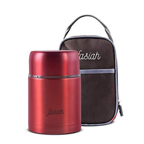 Fasiah Thermos Alimentaire avec Sac Isotherme Chaud 750ml : Box étanche de Voyage pour Repas Chaud, mug café Soupe Plat a emporté, conteneur en Acier INOX, Double Compartiment pour Aliment(red)