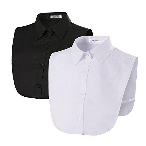 ANZERMIX Women's Detachable Dickey Shirt Collar (2 Pack) (Basic White+Black)