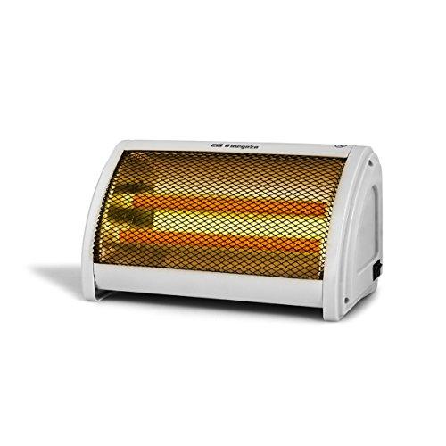 Orbegozo BP 3200 - Estufa cerámica, 2 niveles de potencia, doble botón de funcionamiento, asa de transporte, sistema antivuelco, 1000 W