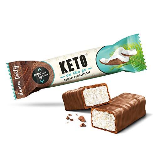 KETO on the go Riegel | Schokolade Kokosnuss | 20er Box | Nur 1g Zucker pro Riegel | Bekannt aus 2 Minuten 2 Millionen