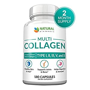 Multi Collagen Protein Capsules – 180 Collagen Capsules – Type I, II, III, V, X Collagen Pills – Proprietary Blend of Eggshell, Chicken, Wild Fish & Grass-Fed Beef Collagen Peptides – 2025mg per serv
