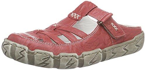 Rieker Damen Pantoletten, Frauen Clogs, elegant Women's Women Woman Freizeit leger Slipper Slides Sandale sommerschuh,Rot(Rosso),37 EU / 4 UK