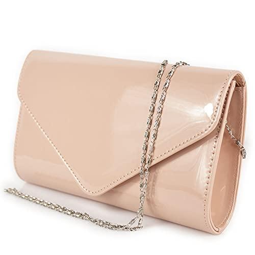 Pochette vernice rosa lucida donna elegante da ragazza signora cerimonia matrimonio borsa a mano piccola clutch borsetta sera giorno primavera estate 2021 primaverile estiva Ecopelle Rosa